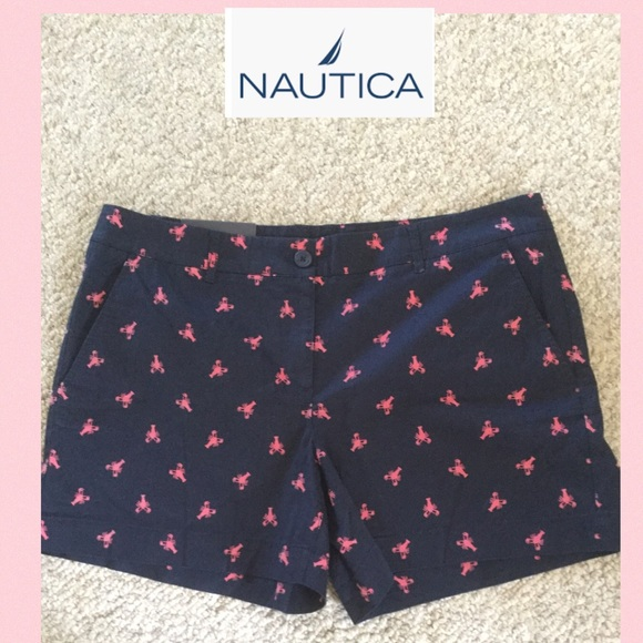 Nautica Pants - NWT Nautica SZ 14 navy blue with pink lobsters